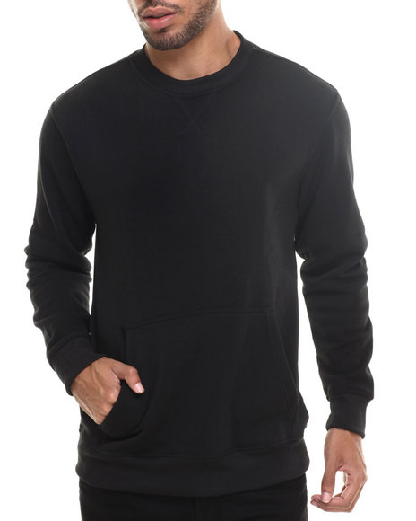 Ur-ID 185326 Buyers Picks - Men Black Lt. Fleece Kangaroo Pocket Sweatshirt