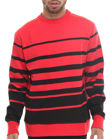 Rocawear - Men Red Dekalb Stripe Crewneck Sweatshirt