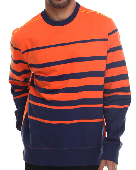 Rocawear - Men Navy Dekalb Stripe Crewneck Sweatshirt