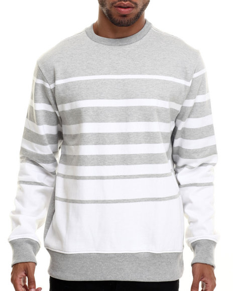 Rocawear - Men White Dekalb Stripe Crewneck Sweatshirt