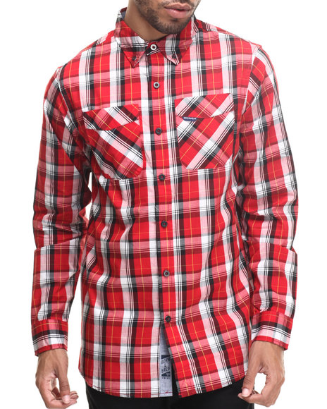Rocawear - Men Red Medium L/S Button-Down