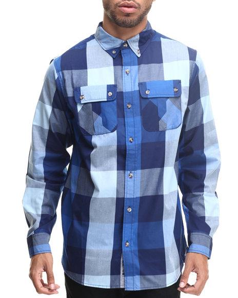 Rocawear - Men Blue Buffalo Check L/S Button-Down