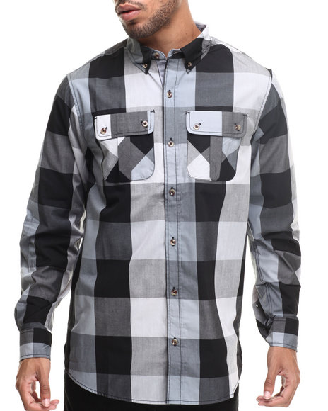 Rocawear - Men Black Buffalo Check L/S Button-Down
