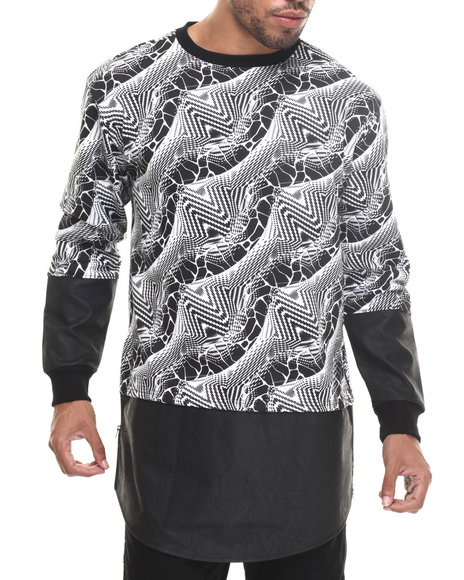 Ur-ID 185333 Buyers Picks - Men Black Zig-Zag E-Longated Sweatshirt