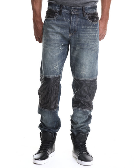 Buyers Picks - Men Vintage Wash Premium Diamond Quilted Faux Leather Detail Denim Jeans