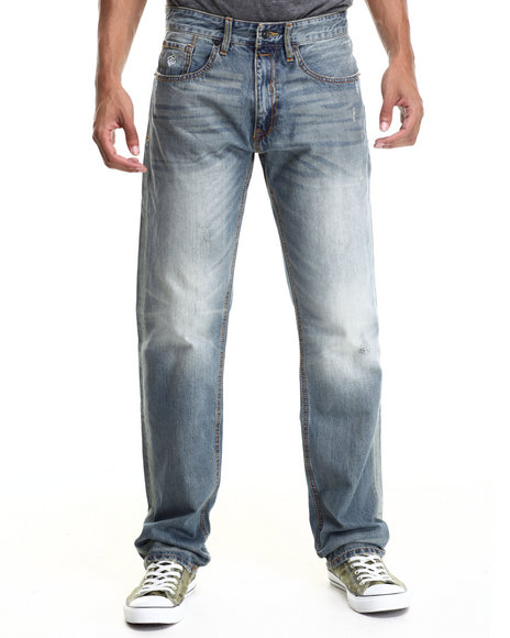 Rocawear - Men Blue Authentic Destruction Classic Fit Jeans