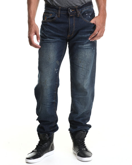 Rocawear - Men Blue Rusty Denim Classic Fit Jeans