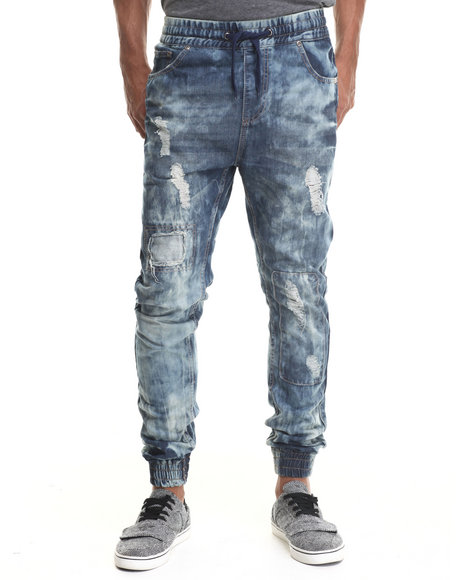 Buyers Picks - Men Indigo Ripped Detail Jogger Denim Jeans