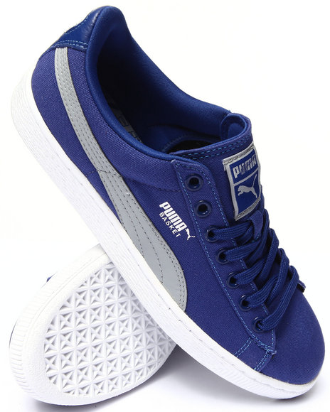 Puma - Men Blue Basket Classic Canvas Sneakers