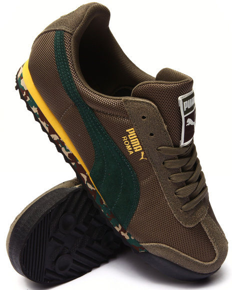 Puma - Men Olive Roma Rugged Sneakers