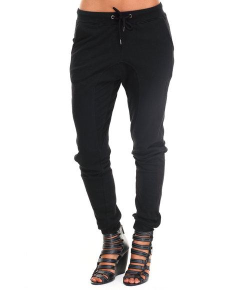 Soho Babe - Women Black Semi Drop Crotch French Terry Jogger Pant