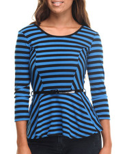 Long-Sleeve - Tasha 3/4 Sleeve Stripe Peplum