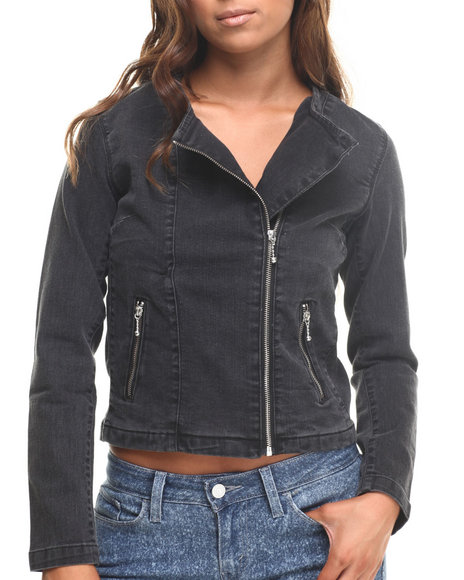 Ur-ID 185449 Levi's - Women Black Collarless Moto Trucker