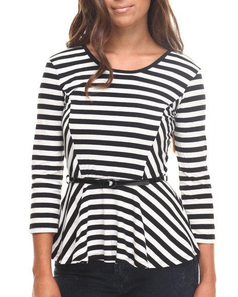 Fashion Lab - Women White Tasha 3/4 Sleeve Stripe Peplum