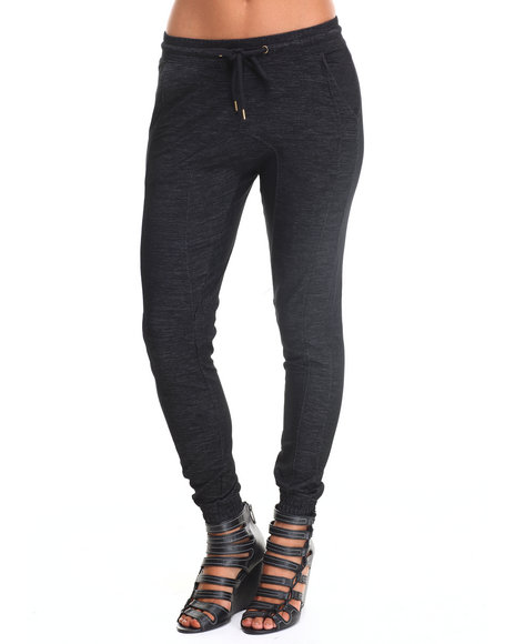 Soho Babe - Women Black Knit Raw Denim Stretch Jogger