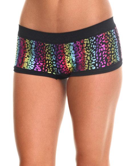 Ur-ID 185460 DRJ Lingerie Shoppe - Women Black Foil Cheetah Laser Cut Short