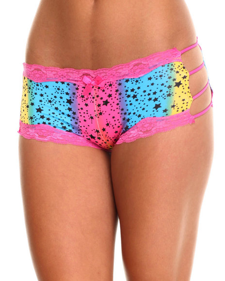 Drj Lingerie Shoppe - Women Multi Rainbow Stars Micro Cut-Out 3Pk Shorts