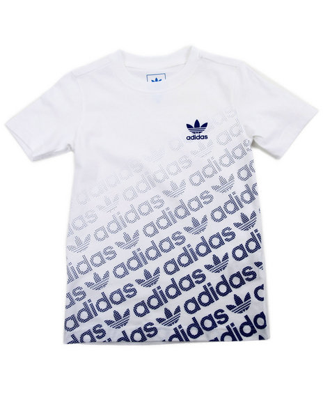 Adidas - Boys Blue,White Junior Trefoil Graphic Logo Tee - $25.00