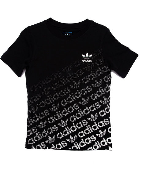 Adidas - Boys Black Junior Trefoil Graphic Logo Tee