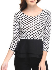 Fashion Tops - Shelby 3/4 Sleeve Polka D