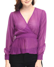 Fashion Tops - Cher V-Neck Sheer Long Sleeve Peplum