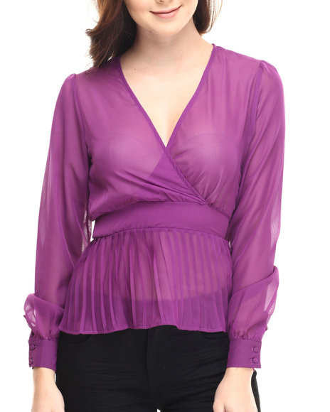 Ur-ID 185492 Fashion Lab - Women Purple Cher V-Neck Sheer Long Sleeve Peplum