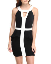 Fashion Lab - Theresa Peplum Dress W/color blocked detail