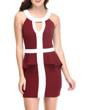 Women - Theresa Peplum Dress W/color blocked detail