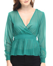 Tops - Cher V-Neck Sheer Long Sleeve Peplum