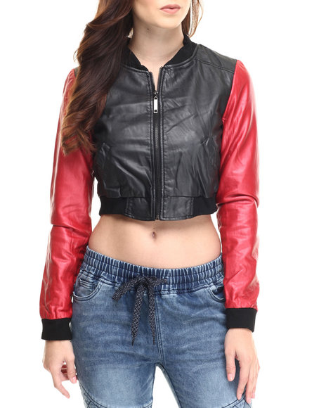 Fashion Lab - Women Red Vegan Leather Light Weight Jacket W/Color Blocked Sleeves