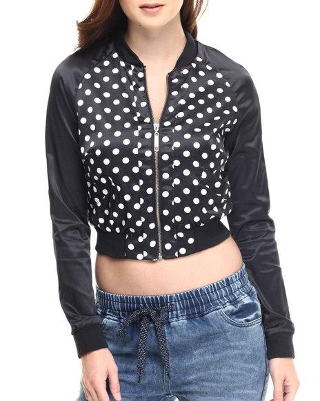 Fashion Lab - Women Black Polka Dot Light Weight Bomber Jacket