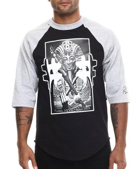 Ur-ID 185527 Graf-X Gallery - Men Grey # King Tut 3/4 - Sleeve Raglan Tee