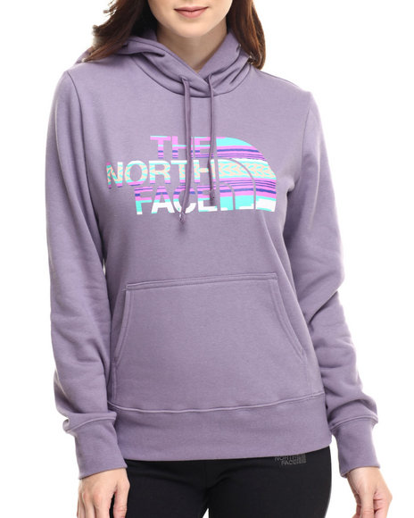 The North Face - Women Purple Texture Stripe Pullover Hoodie