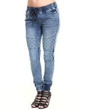 Bottoms - Quilted Knee Denim-Washed Jogger