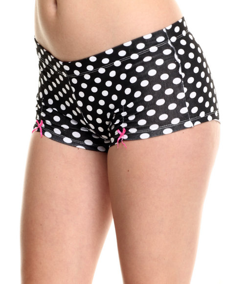 Drj Lingerie Shoppe - Women Black Sexy Dots Cotton Lounge Short