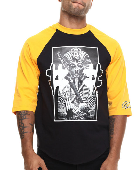 Graf-X Gallery - Men Black # King Tut 3/4 - Sleeve Raglan Tee - $17.99