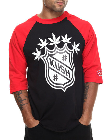Graf-X Gallery - Men Black Kush 3/4 - Sleeve Raglan Tee - $14.99