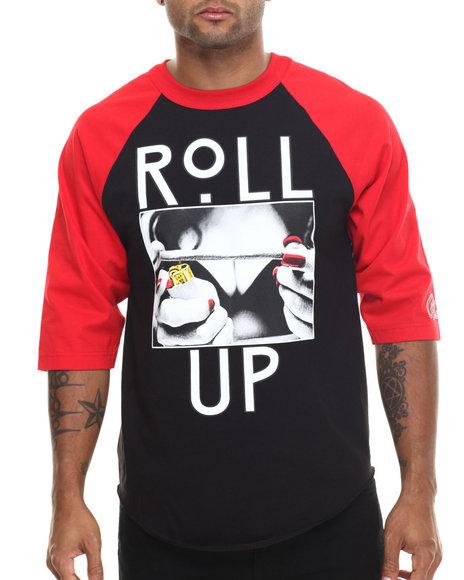 Ur-ID 185540 Graf-X Gallery - Men Black Roll Up 3/4 - Sleeve Raglan