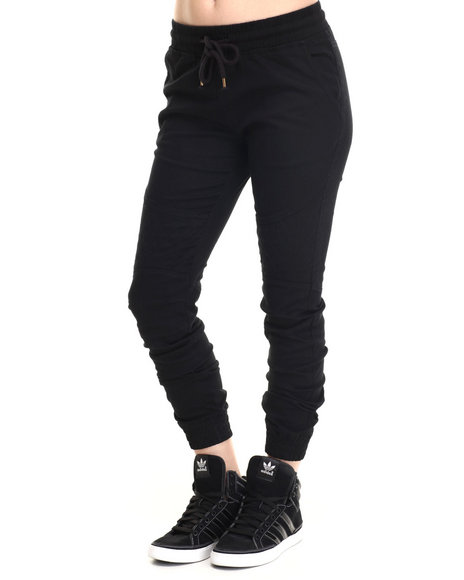 Soho Babe - Women Black Quilted Trim Twill Jogger