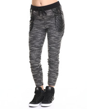 Women - Reversed Slub Vegan Leather Trim Jogger Pant