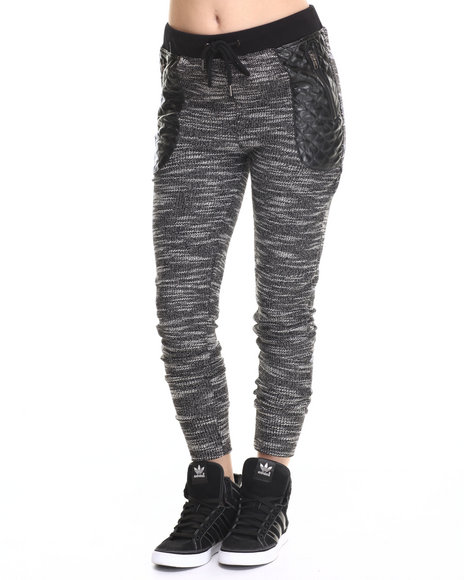 Ur-ID 185587 SOHO BABE - Women Black,White Reversed Slub Vegan Leather Trim Jogger Pant