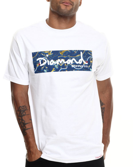 Diamond Supply Co - Men White,Navy Low Life Box Logo Tee