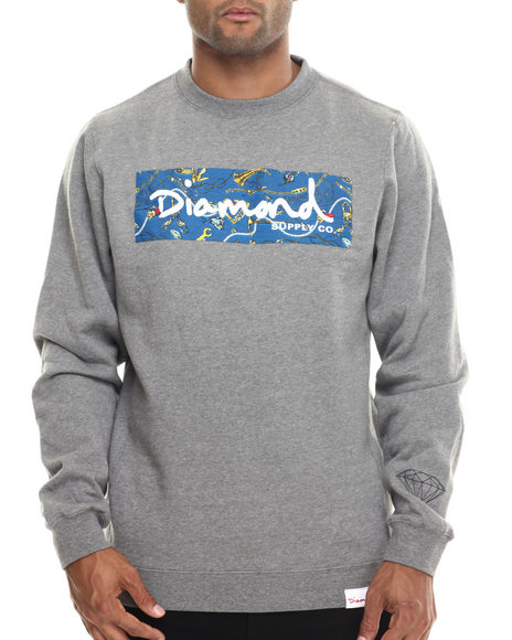 Diamond Supply Co - Men Grey Low Life Box Logo Crewneck Sweatshirt