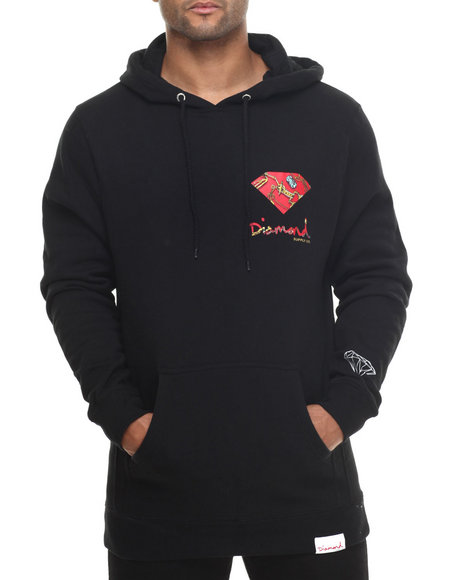 Diamond Supply Co - Men Black Low Life Logo Hoodie