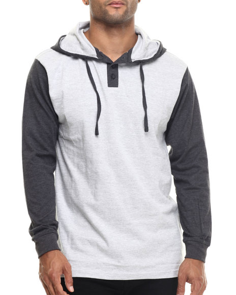 Basic Essentials - Men Grey Heathered Jersey Hooded Henley
