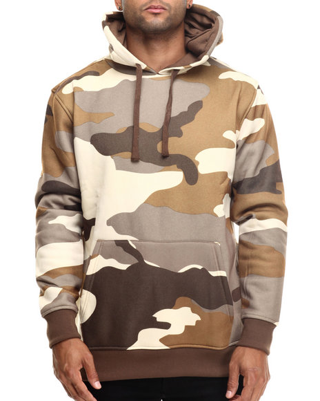 Basic Essentials - Men Tan Printed Camo Fleece Hoodie