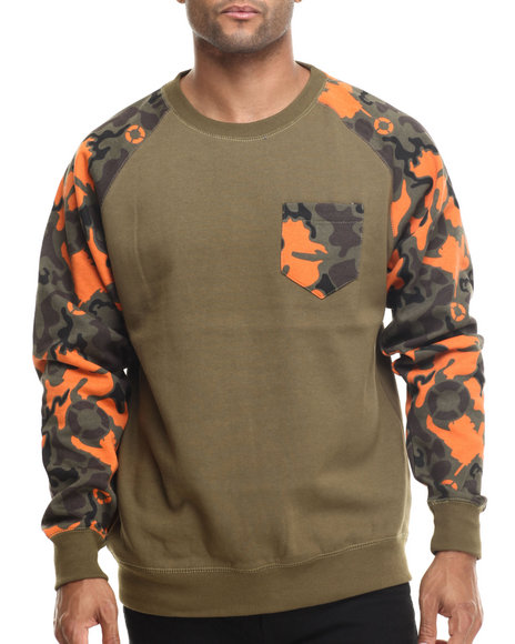 Basic Essentials - Men Olive Artillery Camo Pocket Crewneck Sweatshirt - $15.99