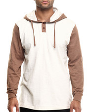 Long-Sleeve - Heathered Jersey Hooded Henley