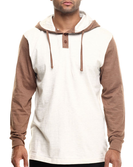 Ur-ID 185520 Basic Essentials - Men Beige Heathered Jersey Hooded Henley