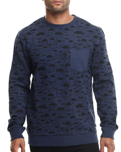 Wesc - Men Blue Demian Printed Pocket Crewneck Sweatshirt
